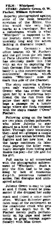 Whirlpool review in the Kensington Post 3 April 1959