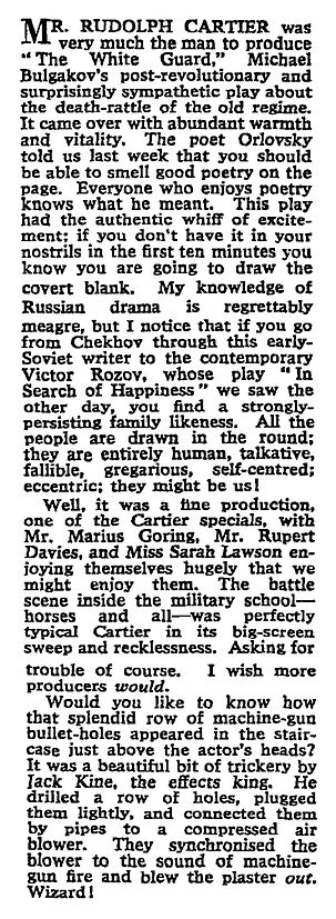 The White Guard review by Maurice Wiggin in The Sunday Times 7 February 1960