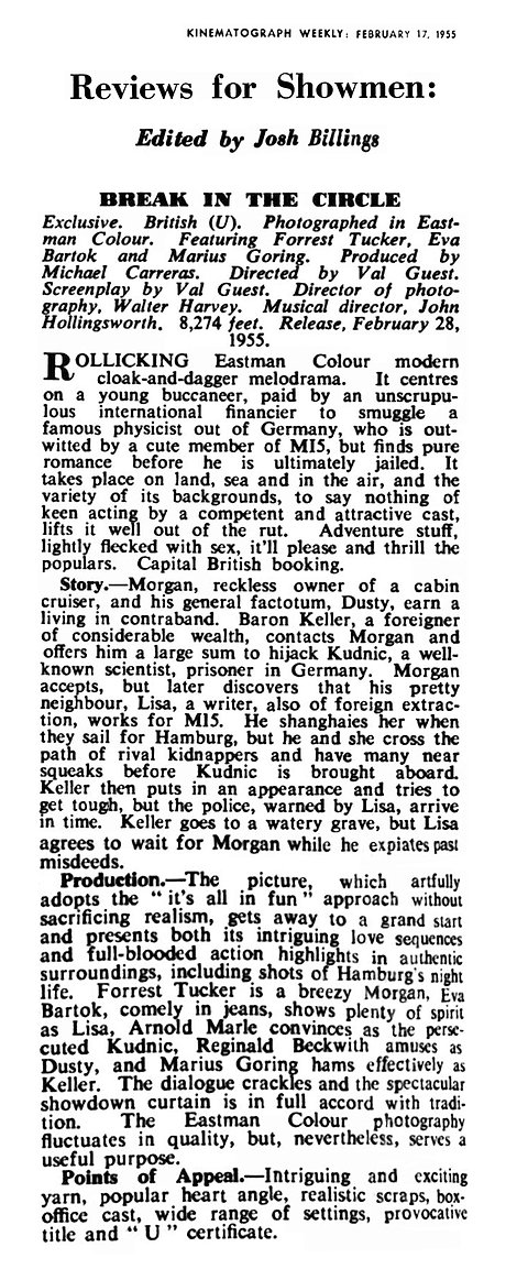 Break in the Circle review in the Kinematograph Weekly 17 February 1955