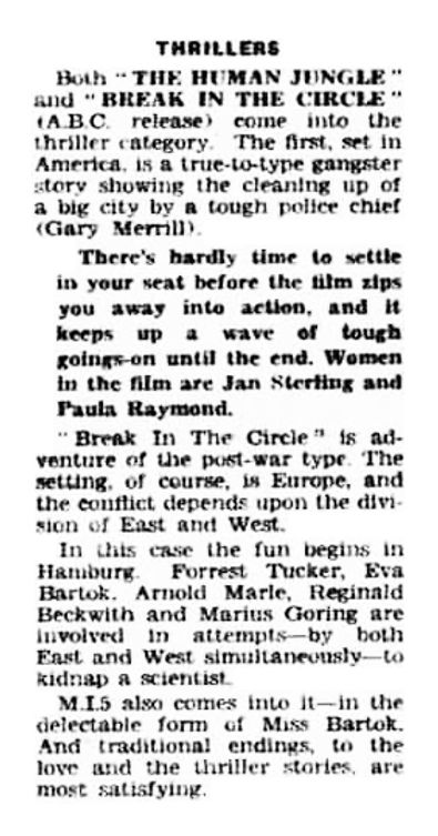 Break in the Circle review in the West London Observer 25 February 1955