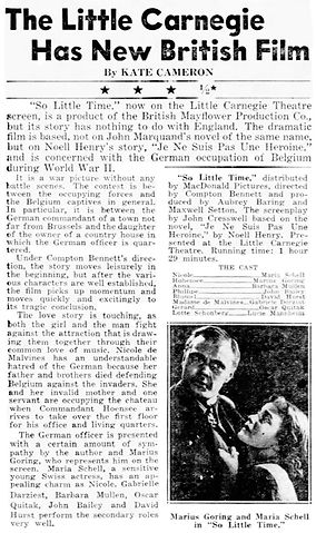 So Little Time review by Kate Cameron in the Daily News New York 28 July 1953