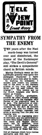 The Devil's General 1955 review in the Lancashire Evening Post 19 December 1955