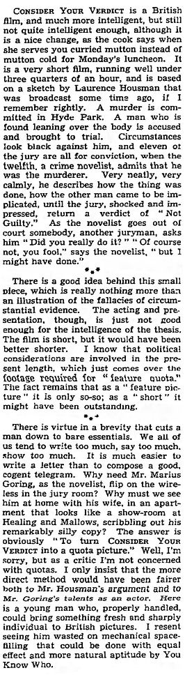 Consider Your Verdict review in The Observer 5 February 1939