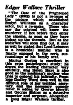 The Case of the Frightened Lady review in the Lancashire Evening Post 21 December 1940