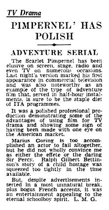 The Adventures of the Scarlet Pimpernel Ep 1 - The Hostage review in The Daily Telegraph 29 September 1955