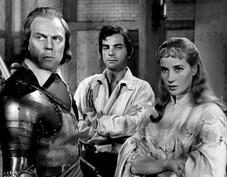 Marius Goring, Peter Arne & Sylvia Syms in The Moonraker