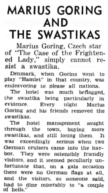 Marius Goring & the Swastikas article in Sydney Morning Herald 13 February 1941