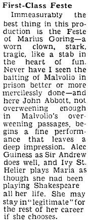 Twelfth Night review by Herbert Farjeon in the Sunday Pictorial 28 February 1937