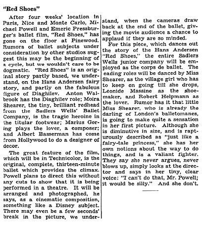 The Red Shoes article by C.A. Lejeune in The New York Times 26 July 1947