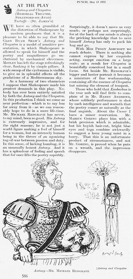 Antony and Cleopatra review by Eric Keown with caricature in Punch 13 May 1953