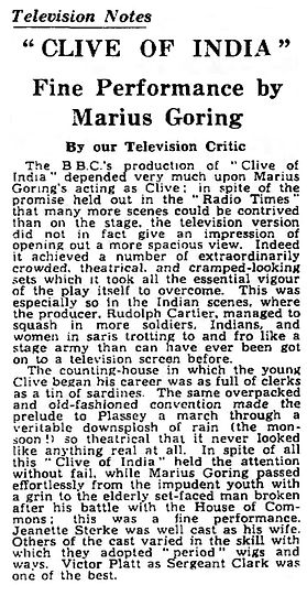 Clive of India review in The Guardian 31 December 1956