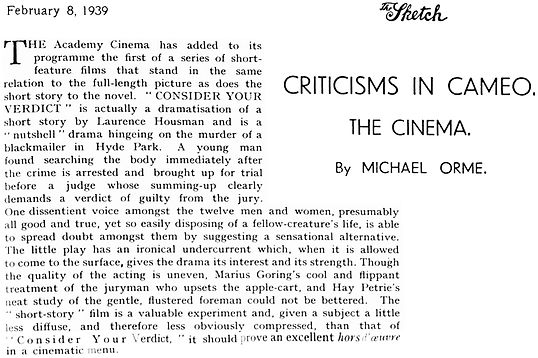 Consider Your Verdict review in The Sketch 8 February 1939
