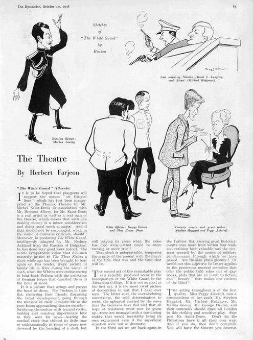'The White Guard' article in The Bystander 19 October 1938