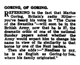 Article re Marius enlisting & name in the Worthing Gazette 24 April 1940
