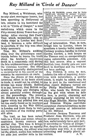 Circle of Danger review in The New York Times 12 July 1951