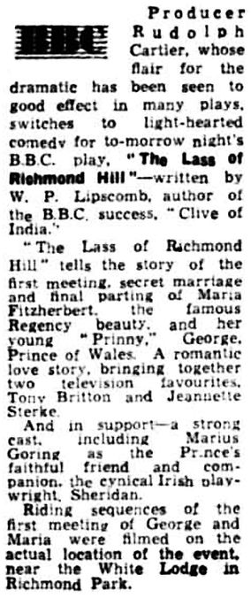 'The Lass of Richmond Hill' review in the Liverpool Echo 8 June 1957