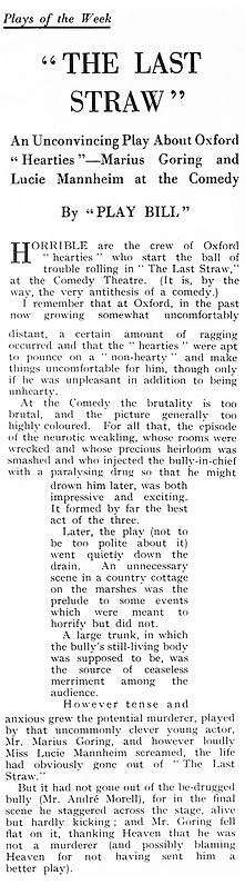 The Last Straw review in the Illustrated Sporting and Dramatic News 8 October 1937