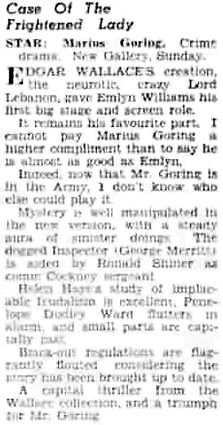 The Case of the Frightened Lady review in the Daily Herald 16 August 1940