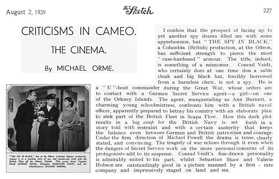 The Spy in Black review & photo in The Sketch 2 August 1939