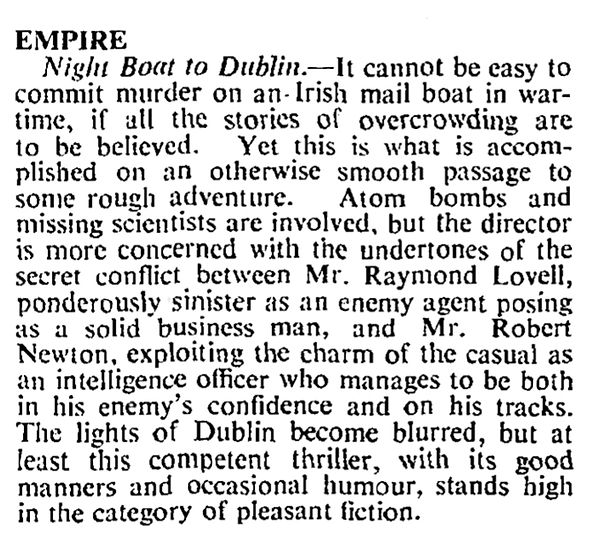 Night Boat to Dublin review in The Times 25 February 1946