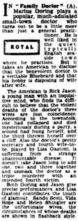 Family Doctor/Rx Murder review in the Halifax Evening Courier 19 May 1958