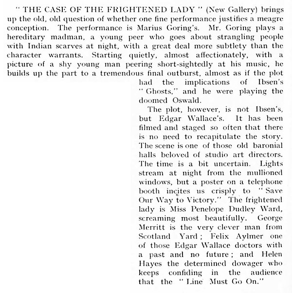The Case of the Frightened Lady review by C.A. Lejeune in The Sketch 28 August 1940