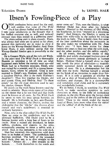 The Wild Duck article in The Radio Times 29 February 1952