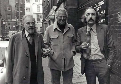 Marius Goring (Vice President), Derek Bond (President) & Peter Plouviez (General Secretary) arriving for an Equity meeting in 1976