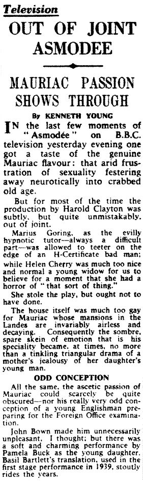Asmodée review by Kenneth Young in The Daily Telegraph 10 June 1959