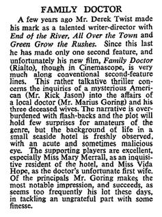 Family Doctor (Rx Murder) review in The Times 10 February 1958
