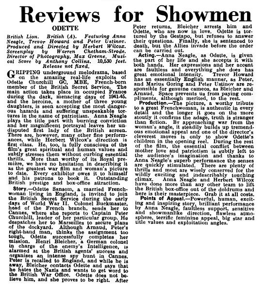 Odette review in the Kinematograph Weekly 8 June 1950