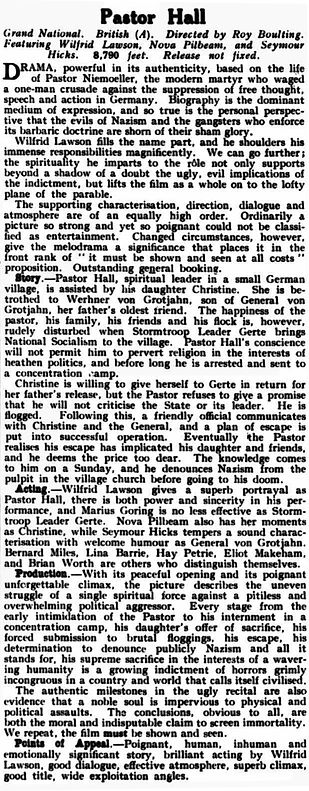Pastor Hall review in the Kinematograph Weekly 23 May 1940