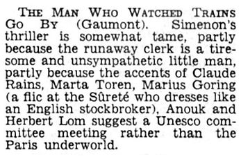 The Man Who Watched Trains Go By review by Campbell Dixon in The Daily Telegraph 29 December 1952