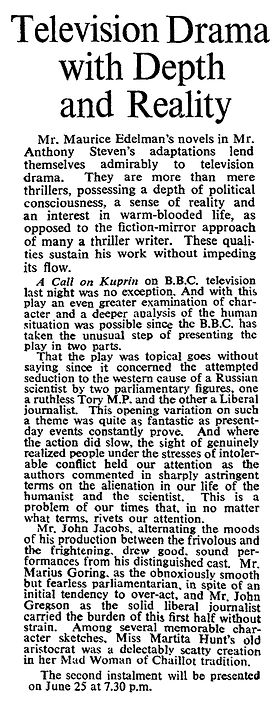 A Call on Kuprin Part One review in The Times 19 June 1961