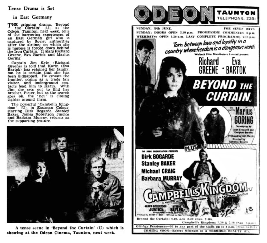 Beyond the Curtain poster, review & photo in the Taunton Courier, and Western Advertiser 18 June 1960