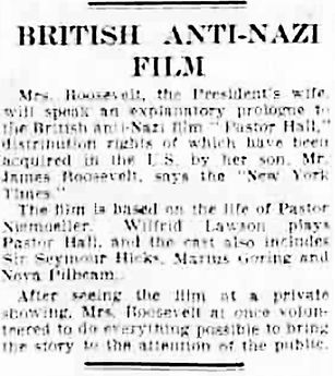 Pastor Hall article in the Derby Daily Telegraph 16 July 1940