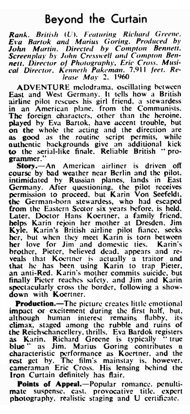 Beyond the Curtain review in the Kinematograph Weekly 21 April 1960