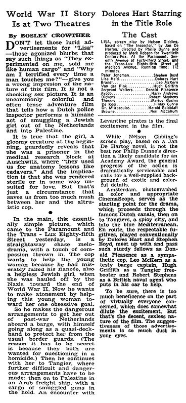 Lisa (The Inspector) review by Bosley Crowther in The New York Times 25 May 1962