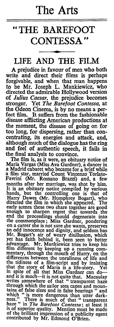 The Barefoot Contessa review in The Times 8 November 1954