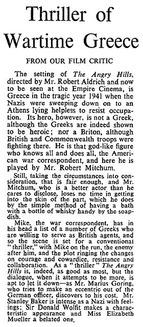The Angry Hills review in The Times 16 February 1959