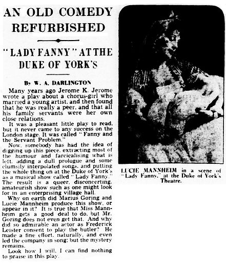 Lady Fanny review by W.A. Darlington in The Daily Telegraph 29 March 1939