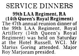 MG attending Queen's Royal Regiment reunion dinner notice in The Daily Telegraph 28 Sept 1992