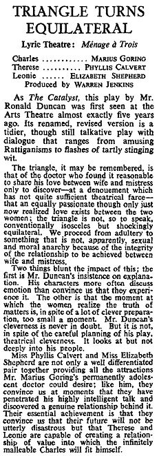 Ménage à Trois review in The Times 20 March 1963