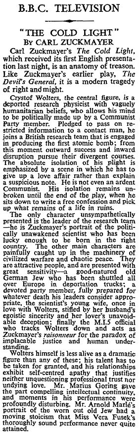 The Cold Light review in The Times 30 July 1956