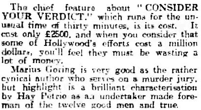 Consider Your Verdict review in the Dundee Evening Telegraph 7 February 1939