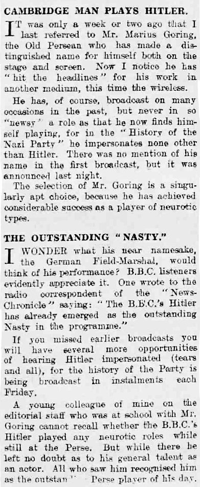 Article in Cambridge Daily News re MG playing Hitler on radio in The Cambridge Daily News 18 November 1939