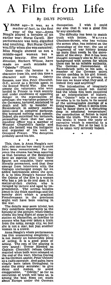Odette review by Dilys Powell in The Sunday Times 11 June 1950