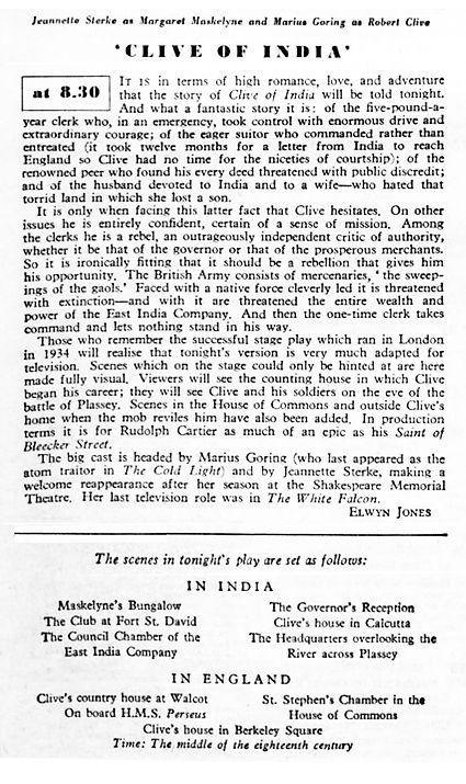 Clive of India article in The Radio Times 28 December 1956
