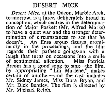 Desert Mice review in The Times 21 December 1959
