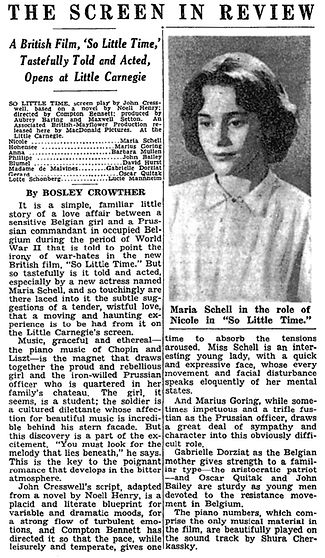 So Little Time review by Bosley Crowther in The New York Times 28 July 1953